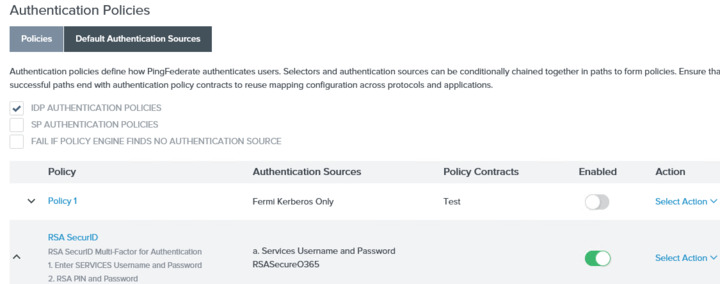 How do I assign an Authentication Policy to a single Service